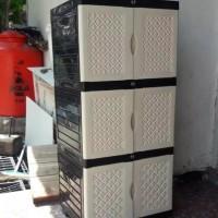 lemari baju plastik napolly jumbo 3 susun kunci aquose