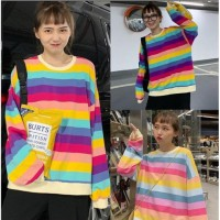 Fashion Murah Kaos T Shirt Wanita Lengan Panjang Garis Rainbow