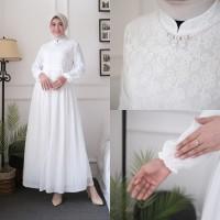 Agnes Gamis Putih Wanita Gamis Plisket Brukat Baju Muslim Wanita