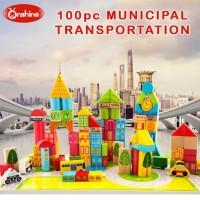 100pc Wooden Building Blocks Toy Mainan Bangunan Balok Kota Susun Anak