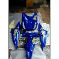 Body alus Beat karbu full biru + striping 2010-2012