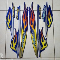 stiker striping motor yamaha mio api sporty 2006 biru ready stock