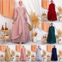 Gamis Mafaza Brokat TilLe Bordir Maxi Dress Brukat Tulle Baju Muslim - MAROON