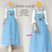 Dress Overall Rok Panjang Levis Outer Baju Kodok Jeans Bordir Wanita