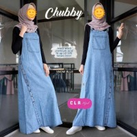 Overall Jeans Rok Panjang Size L - XL Baju Outer Muslim Modern Terbaru
