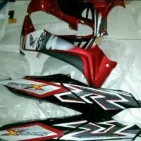 Cover body sayap komplit supra x 125 merah hitam