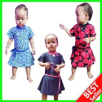 OK 1 2 3 Tahun Baju Renang Anak Bayi Perempuan Cewek Lengan Pendek Rok - Motif love, Size no 1