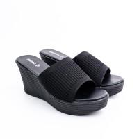 FLADEO Sandal Wedges Wanita LDH354-1RV - Black - 38