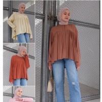 Crincle top atasan blouse wanita model lengan panjang polos size XL