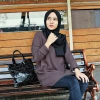 Baju Atasan Rajut Tangan Panjang Kekinian   Oversize Sweater Wanita