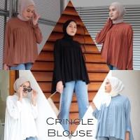 Crincle top blouse atasan wanita motif polos bahan twiscone size XL