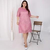 Dress Wanita Jumbo XXL Brukat Brokat Baju Pesta Kondangan Big Size