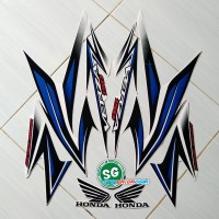 Sticker Striping Lis Body Motor Honda Verza 150 2014 Full Putih-biru
