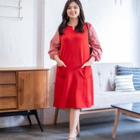 Isuka Fashion Mopsy Dress Fit to Ld 108-115cm Cocok untuk BB 60-85kg - Red