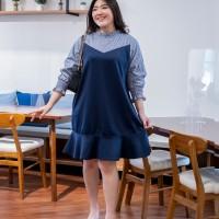 Isuka Fashion Lacresia Dress Fit to Ld 112cm Cocok untuk BB 60-85kg - Navy
