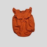 Baju Bayi Romper Ruffle Katun - Orange, S