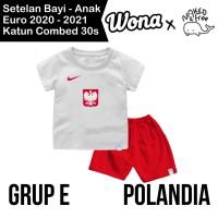 Setelan Euro Naked & Free Grup E (Polandia) Untuk Bayi & Anak Katun30s - Putih Polandia, 6-12 Bulan