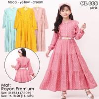 ( Size 6 - 12 Thn ) Baju gamis dress tunik rayon anak perempuan - BS