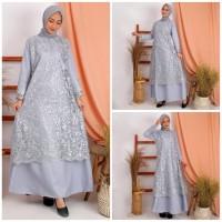 Baju Gamis Brukat Wanita Muslim Dress Lebaran Modern Kebaya Premium
