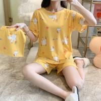 Baju Tidur Wanita Dewasa Pajamas Set Celana Pendek Import Free Pouch - BebekKuning