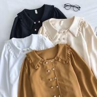 Bloni blouse wanita top model full kancing busui fashion size fit L