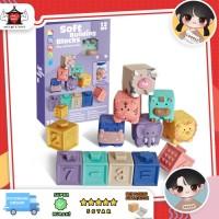 Soft building blocks, Mainan balok lentur anak, Mainan bayi teether