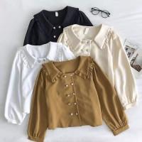 Bloni top blouse wanita model full kancing daily busui bahan twiscone