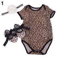 3 Pcs Baju Bayi Baru Lahir Motif Macan, Baju Romper Bando Sepatu