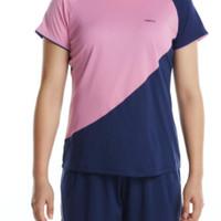 Kaos Badminton Wanita Perfly T-Shirt 530 W Grey Green/ Pink/ Violet