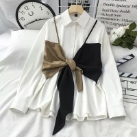 Magnolia top atasan blouse wanita muslim putih bahan twiscone size L