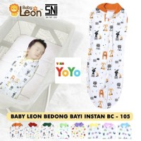 Bedong Bayi Instan Praktis Baby Leon Resleting Katun Halus Lembut