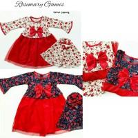 Baju muslim dres gamis anak bayi perempuan rosemary gamis set kerudung - putih-merah