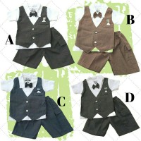 Baju setelan anak bayi laki laki rompi tuxedo kondangan dasi kupu kupu - A