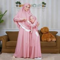 ZALFA SET MOM KIDS FASHION MUSLIM TERBARU BAJU COUPLE IBU DAN ANAK - Pink