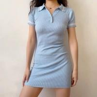 Korean Bodycon Mini Dress C223 - Blue