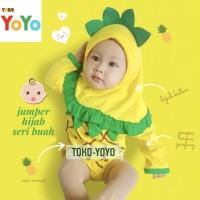 Jumper Anak Bayi Baju Bayi Nanas Jilbab Hijab Muslim Motif Buah Nanas - S
