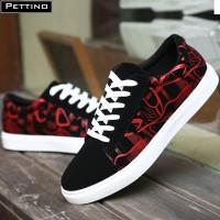 Sepatu Vans Sneakers Fetino Hitam Merah sepatu kasual sekolah