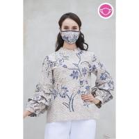 Keropi Indigo T0568,Baju atasan blouse batik wanita modern nonarara