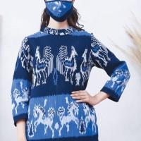 Nindi Lurik T0615 , Baju atasan kerja batik wanita modern Nonarara - L