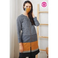 Kanya Lurik T0602,Baju atasan blouse batik wanita modern nona rara - S