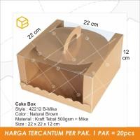 Box Mika Kotak Kue Cake Packaging Transparan Dus Handle Bening | 42212
