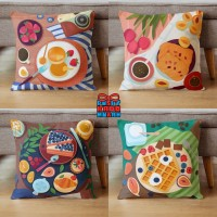 Bantal Sofa Motif Makanan Food Breakfast Cake 40x40 cm