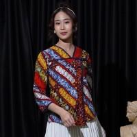 NONA RARA - Tangga Permen T0879, Baju atasan kerja blouse batik wanita