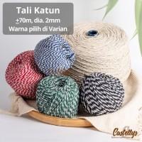 Tali Hangtag Katun 2 Warna 70m Packaging Pita Kado Kue Hampers Natal