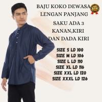 Baju Koko Lengan Panjang Muslim Atasan Terbaru Pria Size XS-S-M-L-XL