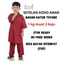 Baju muslim anak koko turki setelan ukuran 1 - 13 tahun bahan toyobo
