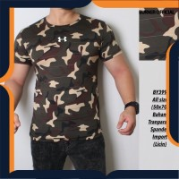 kaos army pria dark brown baju setelan olahraga cowok gym loreng camo