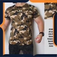 kaos army pria baju setelan olahraga cowok gym loreng tni camo sporty