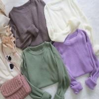 Clarissa Top Knit RIB Rajut Atasan Lengan Panjang Fashion Wanita Korea