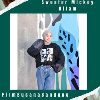 Sweater Wanita Mickey Mouse Oversize Hits   Sweater Wanita Terbaru - Hitam